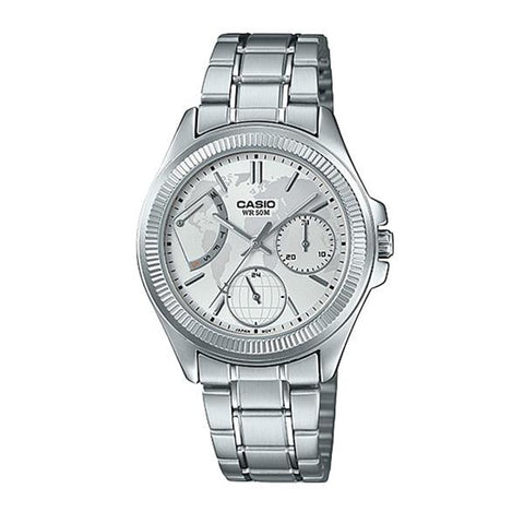 Casio Ladies' Multi-Hands Silver Stainless Steel Band Watch LTP2089D-7A2 LTP-2089D-7A2