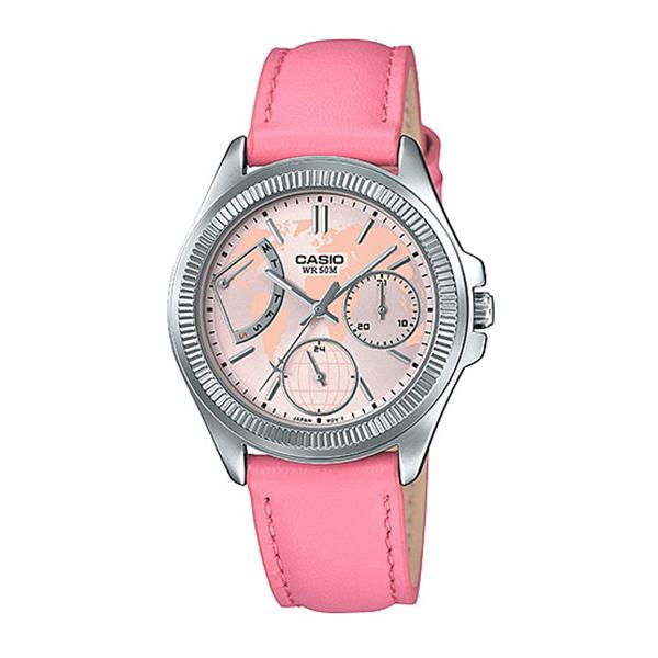 Casio Ladies' Multi-Hands Pink Leather Band Watch LTP2089L-4A LTP-2089L-4A