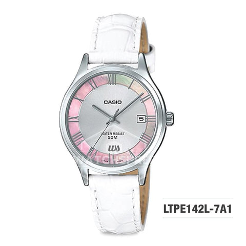 Casio Standard Analog-Ladies White Leather Strap Watch LTPE142L-7A1