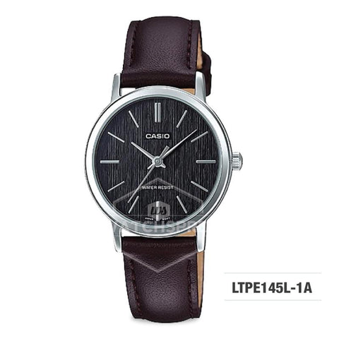 Casio Ladies' Standard Analog Dark Brown Leather Strap Watch LTPE145L-1A LTP-E145L-1A