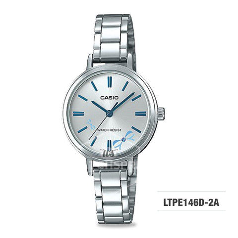 Casio Ladies' Fashion Standard Analog Silver Stainless Steel Watch LTPE146D-2A LTP-E146D-2A