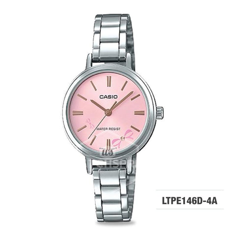 Casio Ladies' Fashion Standard Analog Silver Stainless Steel Watch LTPE146D-4A LTP-E146D-4A