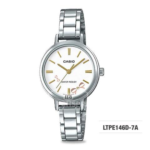 Casio Ladies' Fashion Standard Analog Silver Stainless Steel Watch LTPE146D-7A LTP-E146D-7A