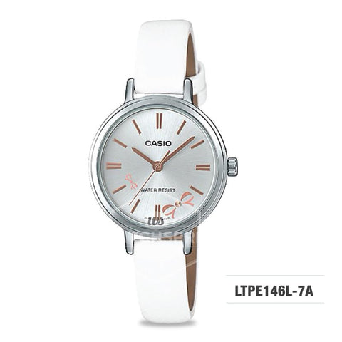 Casio Ladies' Fashion Standard Analog White Leather Strap Watch LTPE146L-7A LTP-E146L-7A