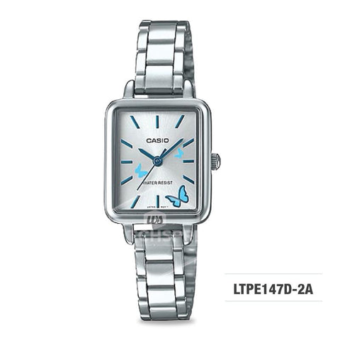 Casio Ladies' Fashion Standard Analog Silver Stainless Steel Watch LTPE147D-2A LTP-E147D-2A