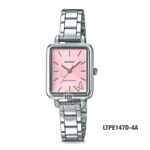 Casio Ladies' Fashion Standard Analog Silver Stainless Steel Watch LTPE147D-4A LTP-E147D-4A