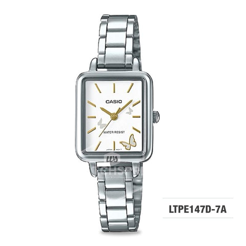 Casio Ladies' Fashion Standard Analog Silver Stainless Steel Watch LTPE147D-7A LTP-E147D-7A
