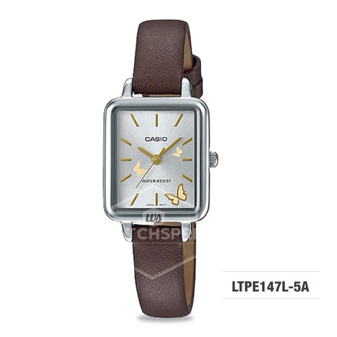 Casio Ladies' Fashion Dark Brown Leather Strap Watch LTPE147L-5A LTP-E147L-5A