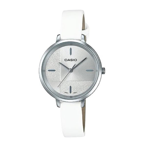 Casio Enticer Ladies' White Leather Strap Watch LTPE152L-7E LTP-E152L-7E