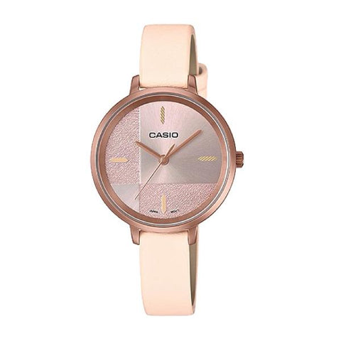 Casio Enticer Ladies' Peach Leather Strap Watch LTPE152RL-4E LTP-E152RL-4E