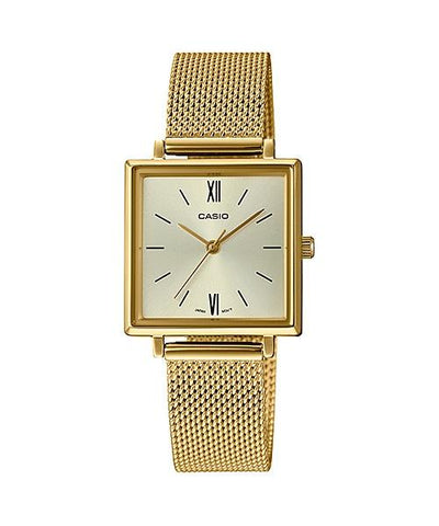 Casio Ladies' Analog Gold Ion Plated Stainless Steel Mesh Band Watch LTPE155MG-9B LTP-E155MG-9B