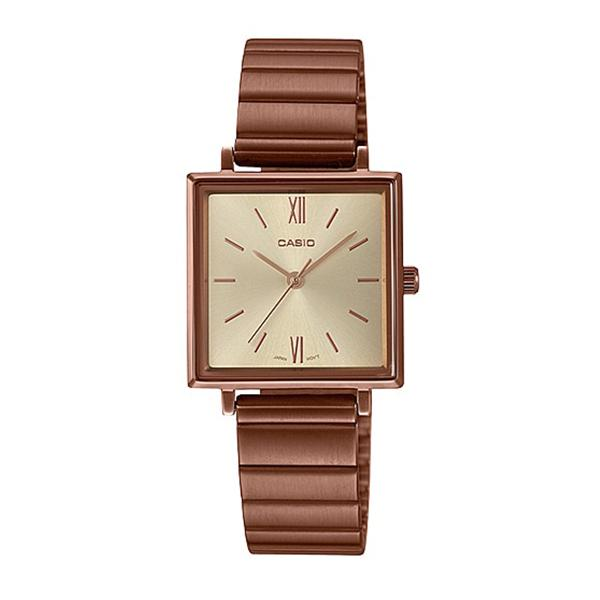 Casio Ladies' Analog Rose Gold Ion Plated Stainless Steel Band Watch LTPE155R-9A LTP-E155R-9A