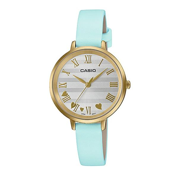 Casio Ladies' Analog Blue Leather Band Watch LTPE160GL-2A LTP-E160GL-2A
