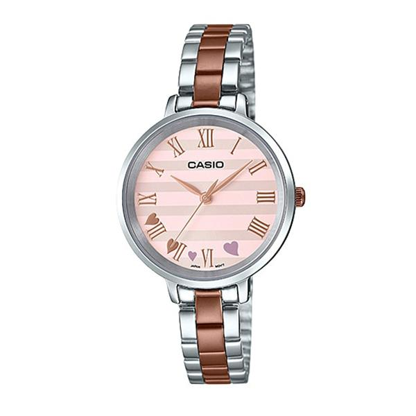 Casio Ladies' Analog Two Tone Rose Gold Ion Plated Stainless Steel Band Watch LTPE160RG-4A LTP-E160RG-4A