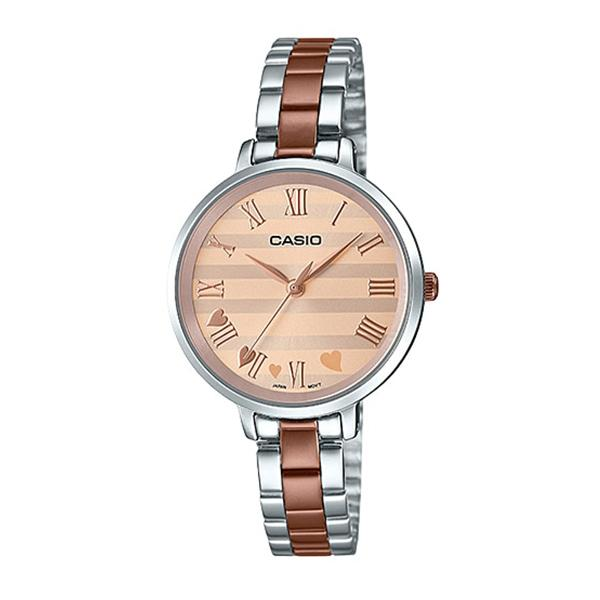 Casio Ladies' Analog Two Tone Rose Gold Ion Plated Stainless Steel Band Watch LTPE160RG-9A LTP-E160RG-9A