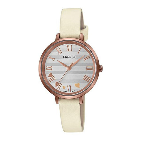 Casio Ladies' Analog Cream Leather Band Watch LTPE160RL-7A LTP-E160RL-7A