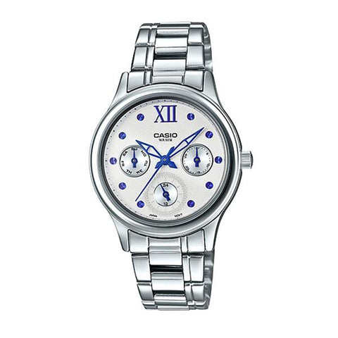 Casio Ladies' Multi-Hands Silver Stainless Steel Band Watch LTPE306D-7A2 LTP-E306D-7A2