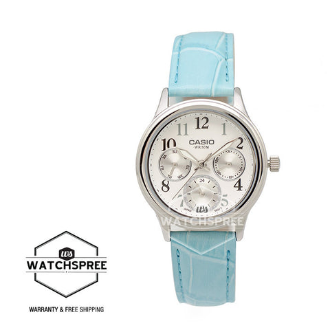 Casio Standard Analog Ladies Blue Leather Strap Watch LTPE306L-7B
