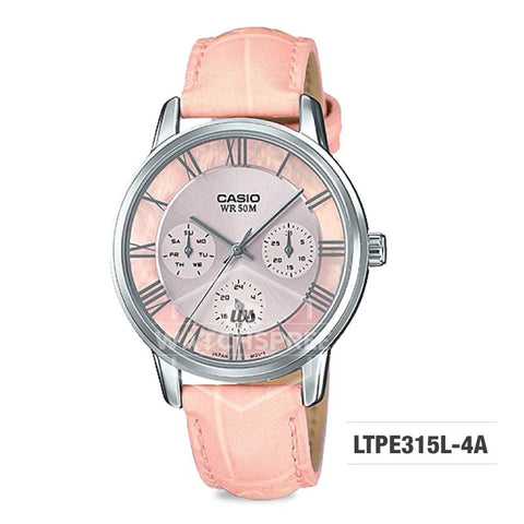 Casio Standard Analog-Ladies Pink Leather Strap Watch LTPE315L-4A