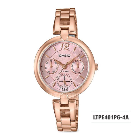 Casio Ladies' Standard Analog Pink Gold Ion Plated Band Watch LTPE401PG-4A LTP-E401PG-4A