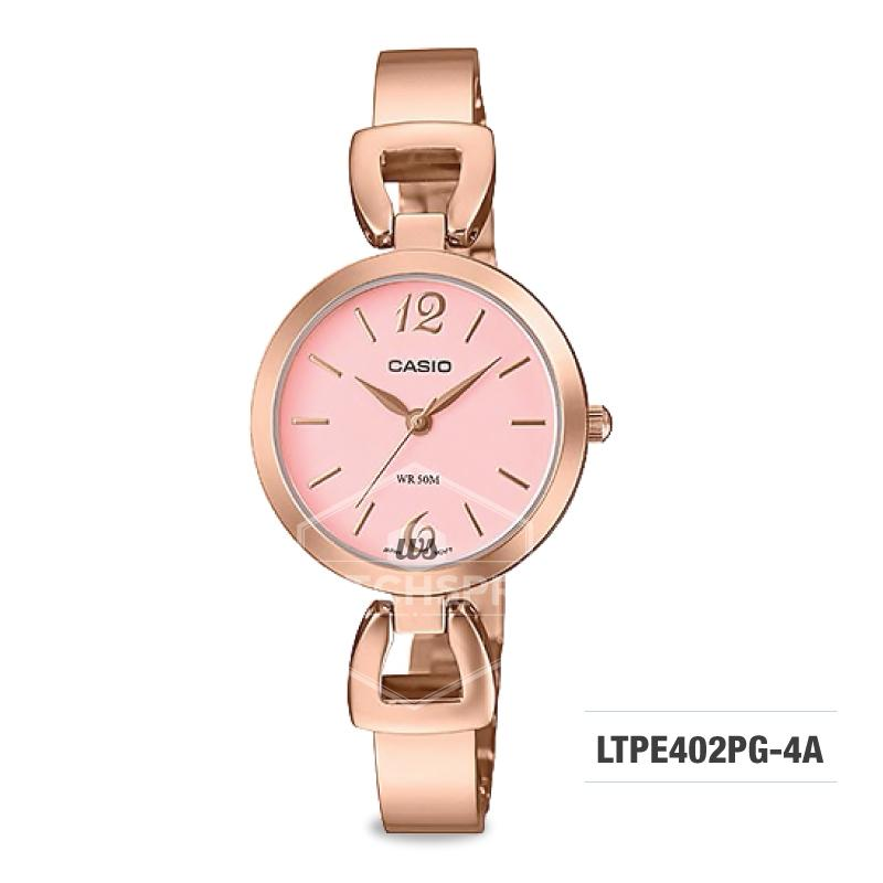 Casio Ladies' Standard Analog Pink Gold Ion Plated Band Watch LTPE402PG-4A  LTP-E402PG-4A