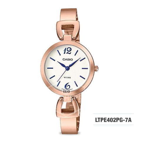 Casio Ladies' Standard Analog Pink Gold Ion Plated Band Watch LTPE402PG-7A LTP-E402PG-7A