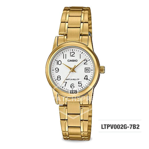 Casio Ladies' Standard Analog Gold Tone Stainless Steel Band Watch LTPV002G-7B2 LTP-V002G-7B2
