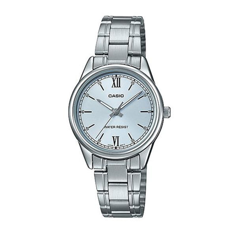 Casio Ladies' Analog Silver Stainless Steel Band Watch LTPV005D-2B3 LTP-V005D-2B3