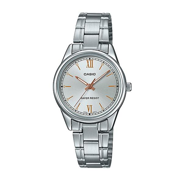Casio Ladies' Analog Silver Stainless Steel Band Watch LTPV005D-7B2 LTP-V005D-7B2