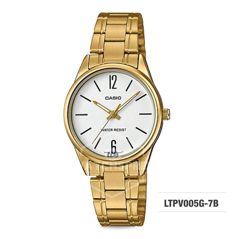 Casio Ladies's Standard Analog Gold Ion Plated Stainless Steel Band Watch LTPV005G-7B LTP-V005G-7B