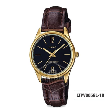 Casio Ladies' Standard Analog Dark Brown Leather Strap Band Watch LTPV005GL-1B LTP-V005GL-1B