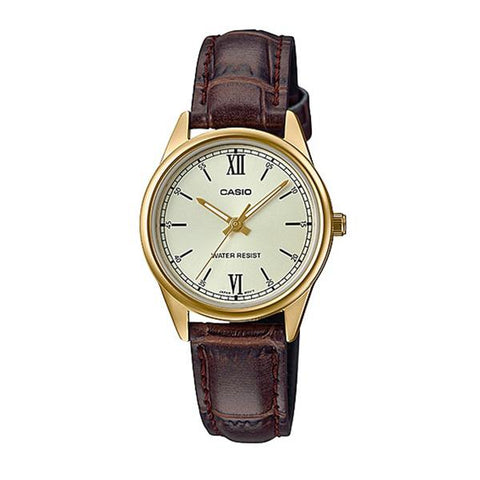 Casio Ladies' Standard Analog Brown Leather Band Watch LTPV005GL-9B LTP-V005GL-9B
