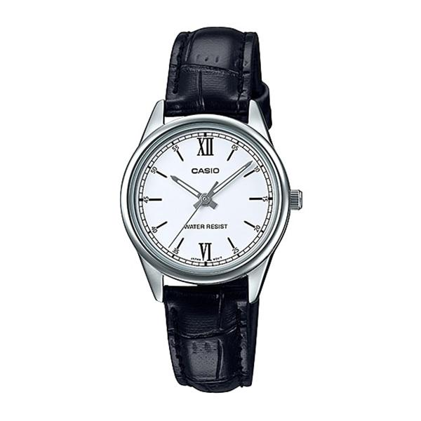 Casio Ladies' Standard Analog Black Leather Band Watch LTPV005L-7B2 LTP-V005L-7B2