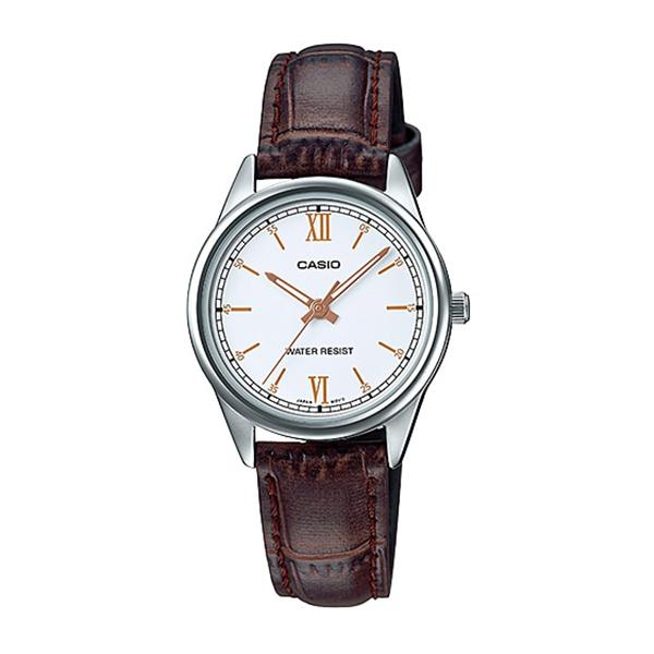 Casio Ladies' Standard Analog Brown Leather Band Watch LTPV005L-7B3 LTP-V005L-7B3
