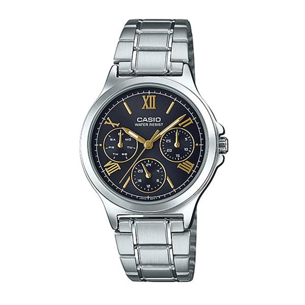 Casio Ladies' Multi-Hands Silver Stainless Steel Band Watch LTPV300D-1A2 LTP-V300D-1A2