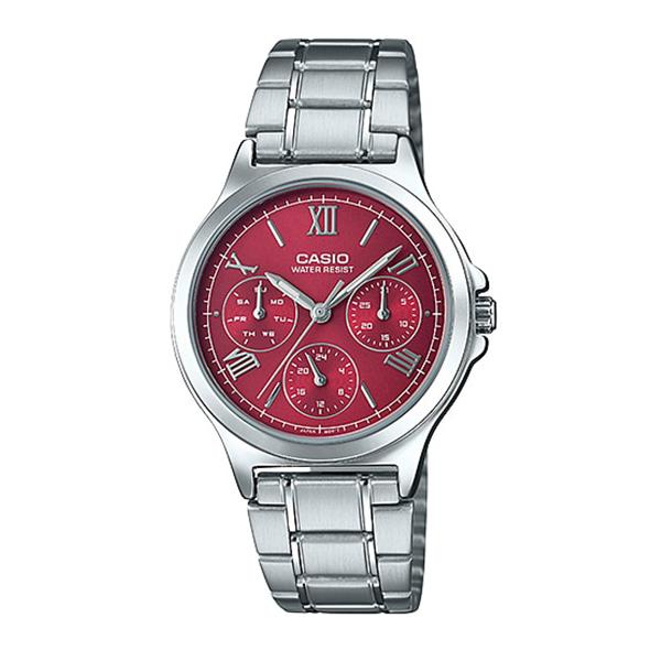 Casio Ladies' Multi-Hands Silver Stainless Steel Band Watch LTPV300D-4A2 LTP-V300D-4A2