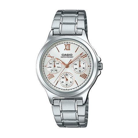 Casio Ladies' Multi-Hands Silver Stainless Steel Band Watch LTPV300D-7A2 LTP-V300D-7A2