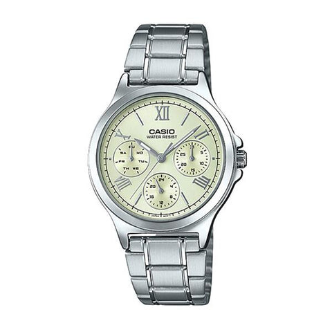 Casio Ladies' Multi-Hands Silver Stainless Steel Band Watch LTPV300D-9A1 LTP-V300D-9A1