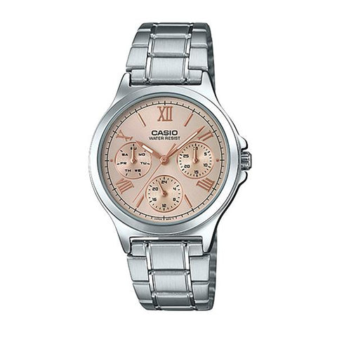 Casio Ladies' Multi-Hands Silver Stainless Steel Band Watch LTPV300D-9A2 LTP-V300D-9A2