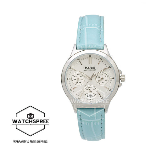 Casio Standard Analog Ladies Blue Leather Strap Band Watch LTPV300L-2A