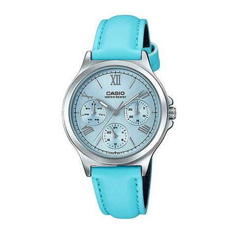 Casio Ladies' Multi-Hands Blue Leather Band Watch LTPV300L-2A3 LTP-V300L-2A3
