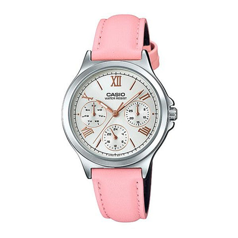 Casio Ladies' Multi-Hands Pink Leather Band Watch LTPV300L-4A2 LTP-V300L-4A2