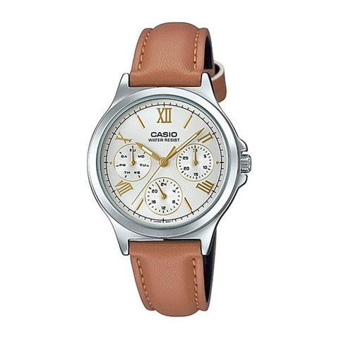 Casio Ladies' Multi-Hands Brown Leather Band Watch LTPV300L-7A2 LTP-V300L-7A2