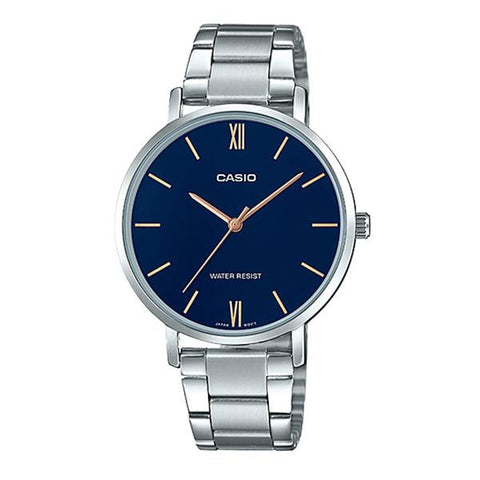 Casio Ladies' Analog Silver Stainless Steel Band Watch LTPVT01D-2B LTP-VT01D-2B
