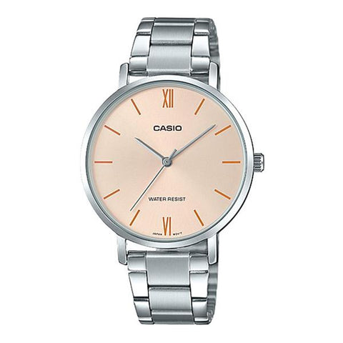 Casio Ladies' Analog Silver Stainless Steel Band Watch LTPVT01D-4B LTP-VT01D-4B