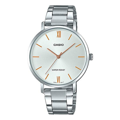 Casio Ladies' Analog Silver Stainless Steel Band Watch LTPVT01D-7B LTP-VT01D-7B