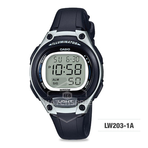 Casio Standard Digital Black Resin Strap Watch LW203-1A