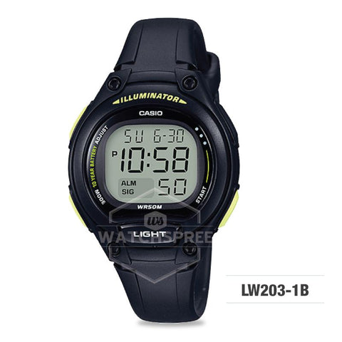 Casio Standard Digital Black Resin Strap Watch LW203-1B
