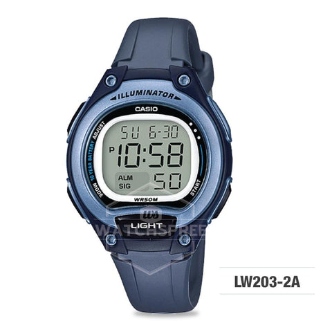 Casio Standard Digital Dark Blue Resin Strap Watch LW203-2A LW-203-2A