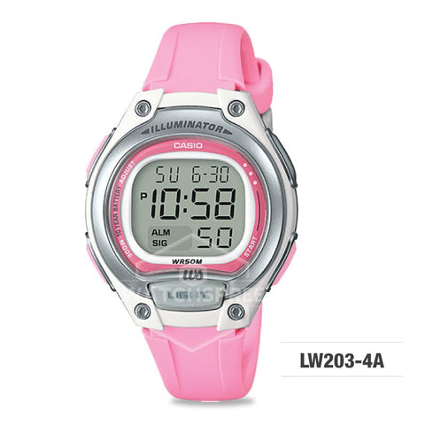 Casio Standard Digital Pink Resin Strap Watch LW203-4A